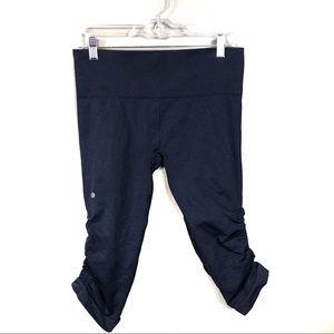 Lululemon navy blue in the flow Capri leggings 8